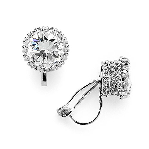 Regal Crown Silver Sterling - Mariell Crown Setting Clip-On Cubic Zirconia Stud Earrings - Regal Platinum Plated 2 Ct. Round Solitaire