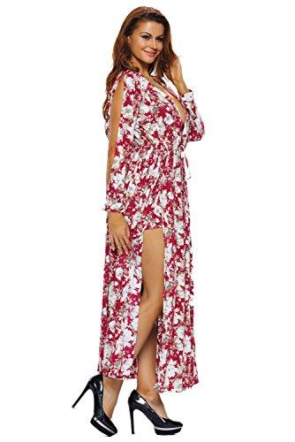 Neue Frau Rot Elegantes Blütenmuster Maxi Strampler Kleid Catsuit Jumpsuit Club Wear Beach Wear Größe S UK 8�?0EU 36�?8