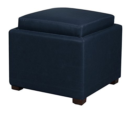 (New Pacific Direct 113042B-V05 Cameron Square Bonded Leather Storage Ottoman Furniture, Vintage Blue)