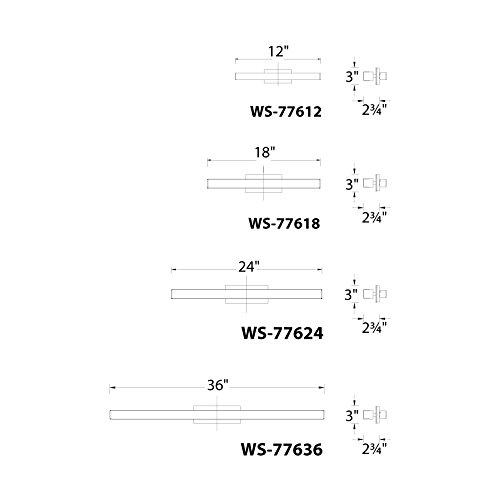 WAC Lighting WS-77612-35-AL Brink 18 Inch Energy Star Bathroom Vanity & Wall LED Light Fixture, Brushed Aluminum