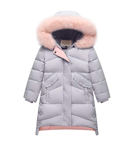 IRELIA Girls Fur Hooded Parka Puffer Down Jacket Coat Grey M ()