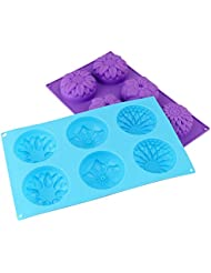 Pieces 6 Cavity Silicone Flower Soap Mold Chrysanthemum Sunflower Mixed Flower shapesCupcake Backing mold Muffin pan Handmade soap silicone Moulds