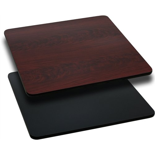 30'' Square Table Top with Black or Mahogany Reversible Laminate Top [XU-MBT-3030-GG]