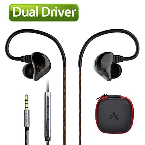 Avantree DUAL DRIVER High Definition In Ear Monitor Kopfhörer, Starker Bass, Sport Ohrhörer, Geräuschisolierende Earphones mit Mikrofon & Musik Track - D18