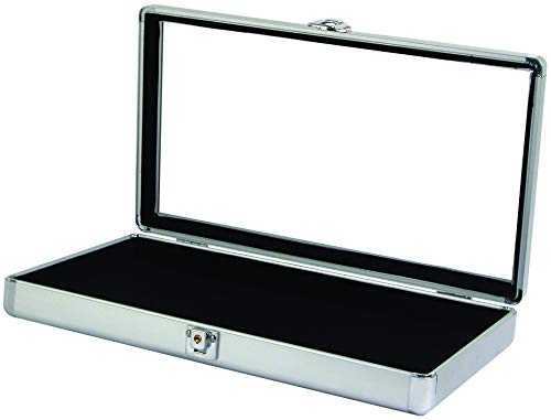 888 Display USA - Silver Aluminum Jewelry Case with Glass Top and Lock (Silver)