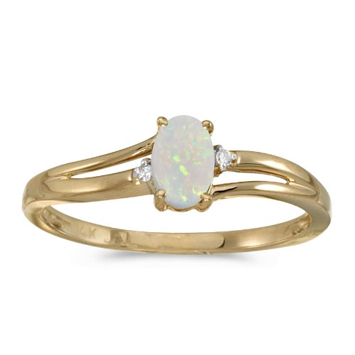 Jewels By Lux 14k Yellow Gold Oval Opal And Diamond Ring Size 7 ()