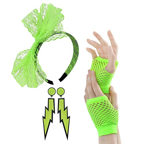 80s Outfit - Womens 80s Fancy Outfit Costumes Accessories Set Leg Warmers Fishnet Gloves Neon Earrings Bracelet and Beads (Green-A) ()