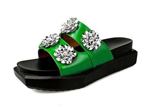 GLTER Mujeres Sandalias Planas Muñeca Fondo Grueso Zapatillas Verano Verano Zapatillas Charol Un Tipo Flores Playa Zapatos De Piscina Negro Verde green