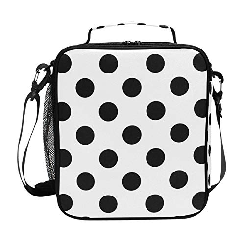 Insulated Lunch Box Polka Dot Black White Large Lunch Bag Warmer Cooler Meal Prep Lunch Tote with Shoulder Strap for Women Boys Girls