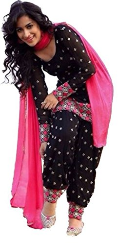 New-Indian-Latest-Designer-Womens-Black-Cotton-Unstitched-Salwar-Suit-Dress-Material