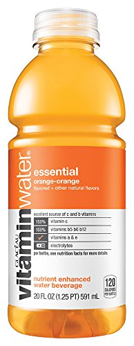 Glaceau VitaminWater Nutrient Enhanced Water, Essential Orange, 20 Ounce (24 Bottles)