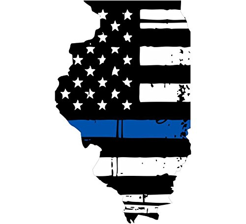 Illinois tattered thin blue line us flag honoring our men & women of law enforcement car symbol sticker decal die cut vinyl window computer - Made and Shipped in USA