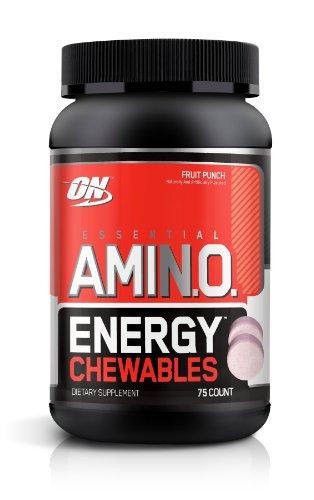 Optimum Nutrition Amino Essential Supplément Energy Diet Comprimés à croquer, Fruit Punch, 25 Count
