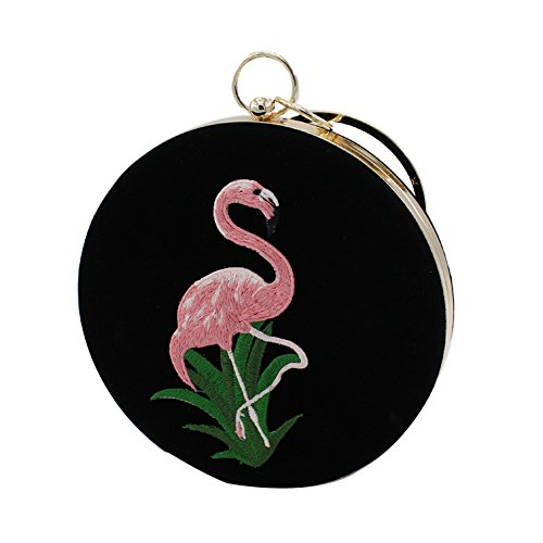 Pouch Purse Bag Embroidered Black Evening Wristlet handle PU Tote Leather Top Flamingo QZUnique Bag Women's Bag xPqOxf6