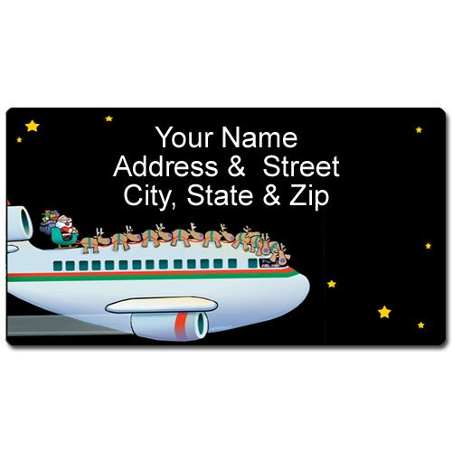Airplane Christmas Address Label - Customized Aviation Return Address Label - 90 Labels