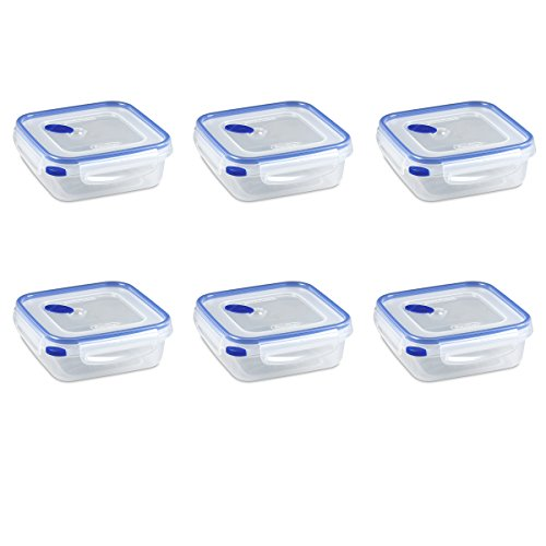 ltra-Seal 4 Cup Food Storage Container, See-Through Lid & Base with Blue Accents, 6-Pack ()