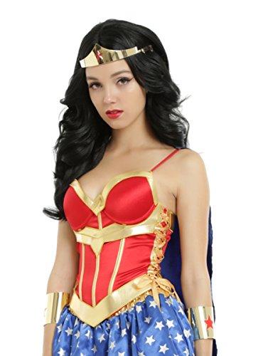 [DC Comics Wonder Woman Lace-Up Corset With Detachable Cape] (Wonder Woman Red Corset)