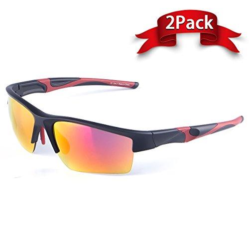 Zhara Unisex Semi-Rim Sunglasses Lightweight Frame UV407 For Outdoor Activities Running Trekking Baseball Tennis Beach ball Racing Driving - Men Women - Tennis Ball Sunglasses