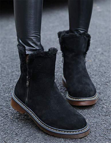Yogly Boots Bottes Fourrure De Eu34 Fashion Noir 43 Femme Neige Chaussures Elegante Chaude Bottine Simple Hiver r5rqYdBzxw