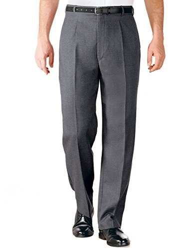 Chums Mens Formal Wool Blend Trouser Pants Adjustable Waistband Mid Grey 32W x 29L