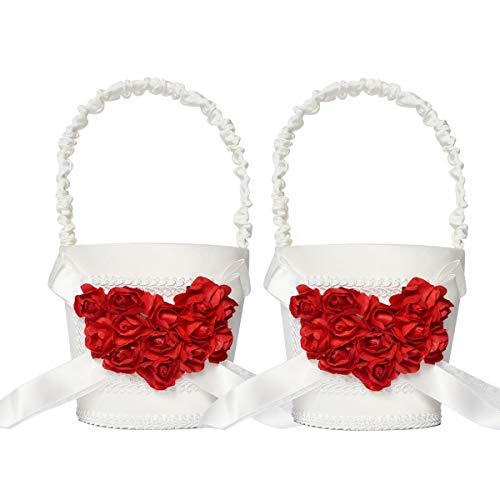 ATAILOVE 2 Pcs Flower Girl Basket Set- Elegant Royal Love Wedding Flower Baskets (Red Rose)]()