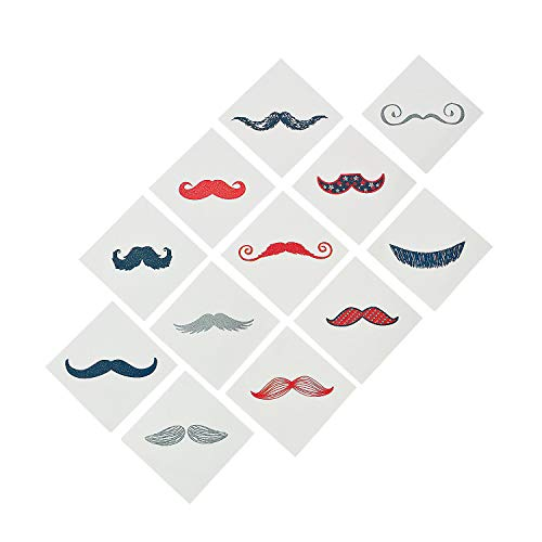 Fun Express Red, White, and Blue Glitter Mustache Tattoos, 72 -