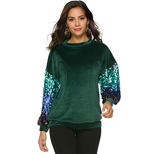 MSOO Fashion Women Loose Long Sleeve Sequined Patchwork Casual T-Shirt Blouse Tops Green