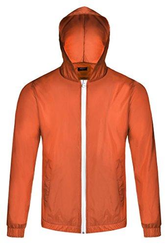 - COOFANDY Men's Waterproof Rain Jacket Lightweight Hooded Outdoor Running Cycling Packable Raincoat Orange
