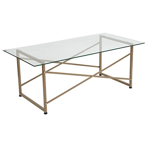 Flash Furniture Mar Vista Collection Glass Coffee Table with Matte Gold (Del Mar Coffee Table)
