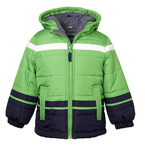 Sportoli Boys' Fleece Lined Hooded Colorblock Winter Puffer Bubble Jacket Coat - Green (Size ()