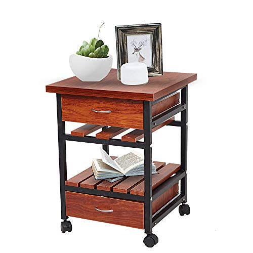 Livebest Rolling Wooden End Table Beside Cabinet,Nightstand Dresser Storage Organizer Unit with 2 Drawers for Bedroom Living Room ()