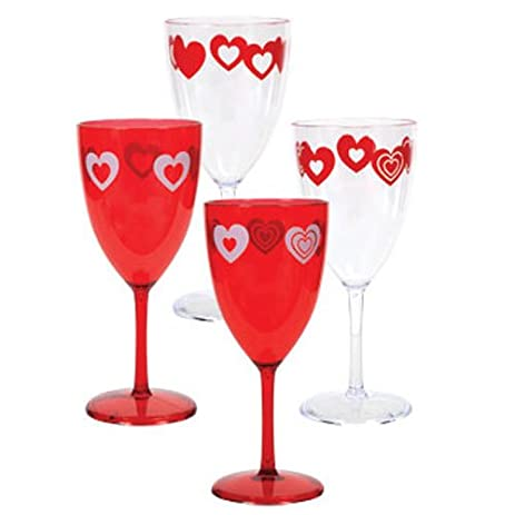 Amazon Com Plastic Valentine S Day Wine Glasses Goblets Set Of 4
