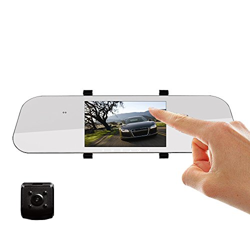 GAKOV Backup Camera,  GA527 Mirror Dual Camera Dash Cam 5 Inch IPS Full HD 1080P 170 Degree Wide-Angle Vehicle Recorder with Night Vision