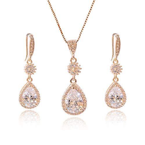 AMYJANE Bridal Jewelry Set for Wedding - 18k Gold Plated Sterling Silver Teardrop Cubic Zirconia Crystal Drop Earrings and Necklace Set for Bride Bridesmaids Mother of Bride Prom - Crystal Teardrop Necklace Earrings