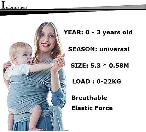 /Écharpe Multifonctionnel pour les Nouveau-n/és et B/éb/és Jusqu/à 15 kg Echarpe de Portage bebe Gris /Écharpe de Portage Lictin lEcharpe Portage Fait de Coton Elastique