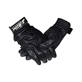 AL SHAD Genuine Leather with lining Winter And Riding Gloves for Bike Motorcycle Cycling Warm Gloves for Men. (BLACK…
