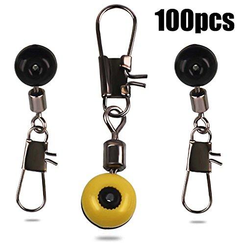 Sougayilang Fishing Line Sinker Slides Hook Shank Clip Connector Swivels Pack of 100pcs (Slide Sinker)