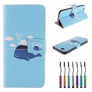 WQQ Whale Elephant Pattern PU Leather Full Body Case with Touch Pen for iPhone 6 Plus