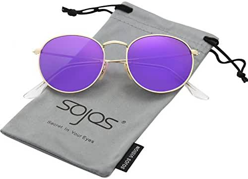 SojoS Small Round Polarized Sunglasses Mirrored Lens Unisex Glasses SJ1014