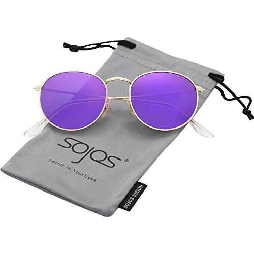 SojoS Small Round Polarized Sunglasses Mirrored Lens Unisex Glasses SJ1014 With Gold Frame/Purple Mirrored Lens