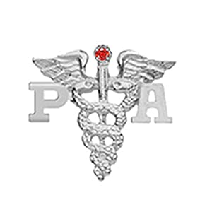 NursingPin Physician Assistant PA Graduation Pin with Ruby in Silver