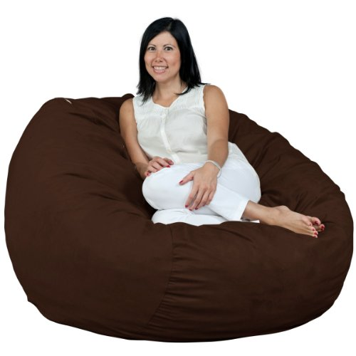 FUGU Bean Bag Chair, Premium Foam Filled 4 XL, Protective Liner Plus Removable Machine Wash Chocolate Brown Cover