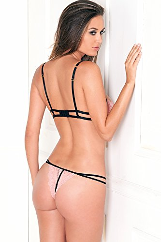4fdf4b8d30 Rene Rofe Women s 2 Piece Lace Bra Nude Cups and G-String ...
