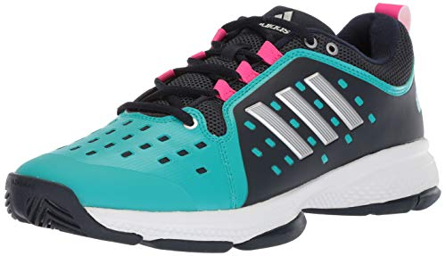 adidas Women's Barricade Classic Bounce Tennis Shoe, Legend Ink/Matte Silver/hi-res Aqua, 10 M US
