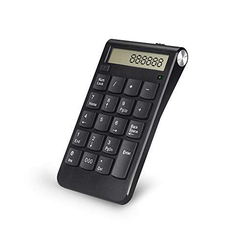 Numeric Keypad,Attoe 2.4G Wireless Rechargeable USB Numeric Keypad,Ultra Thin Mini Mac Number Keypad with LCD Display,20-Keys,for Laptop Desktop PC Computer