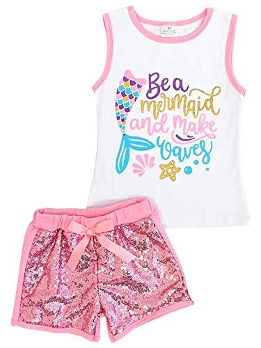 Big Girls 2 Pieces Short Set Mermaid Top Ruffle Shorts Outfit Clothing Set Pink 7 XXL (202471)