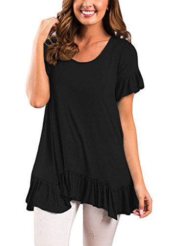 HOTAPEI Women's Tops Short Sleeve Ruffle Hem Casual Loose Fit Flare Tunic Shirts