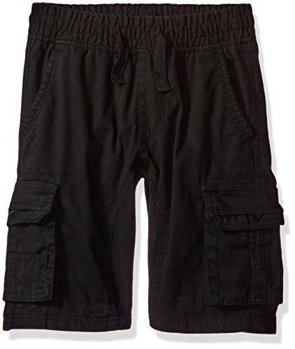 Boys Shorts Adjustable - Southpole Boys' Big Twill Cargo Jogger Shorts in Basic Solid Colors, Black Medium