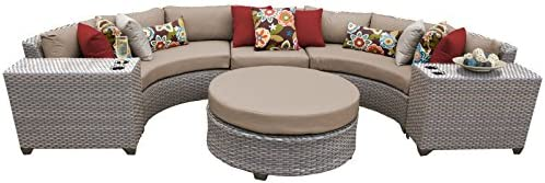 TK Classics FLORENCE-06c-WHEAT 6 Piece Outdoor Wicker Patio Furniture Set