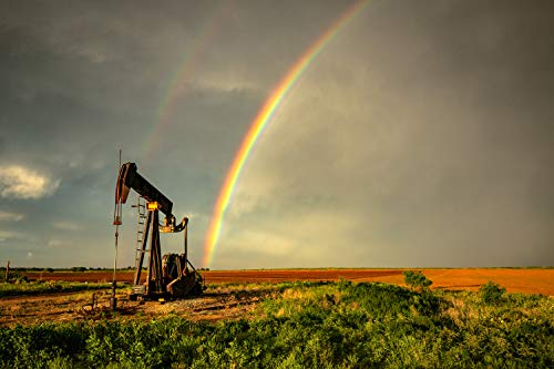 Oil Field Photography Art Print - Wall Picture of Pump Jack and Rainbow After Stormy Day in Texas Western Plains Decor 5x7 to 40x60